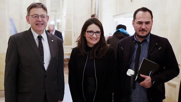 El presidente Ximo Puig con Mónica Oltra, en el acto de hoy en Madrid