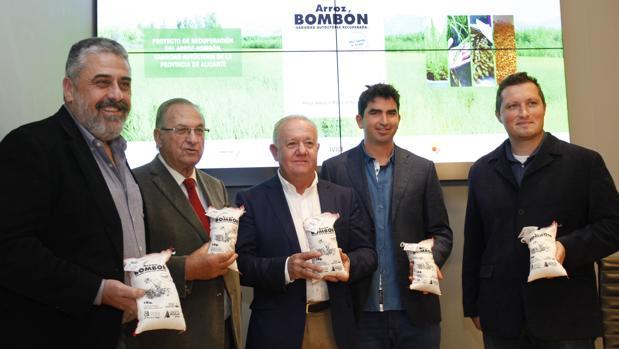 Moll, Aniorte, Cañadas, Dominguis y Moya, con pequeñas sacas del arroz «bombón»