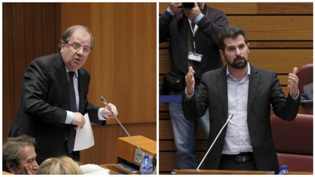 Herrera y Tudanca, este martes durante el Pleno de las Cortes