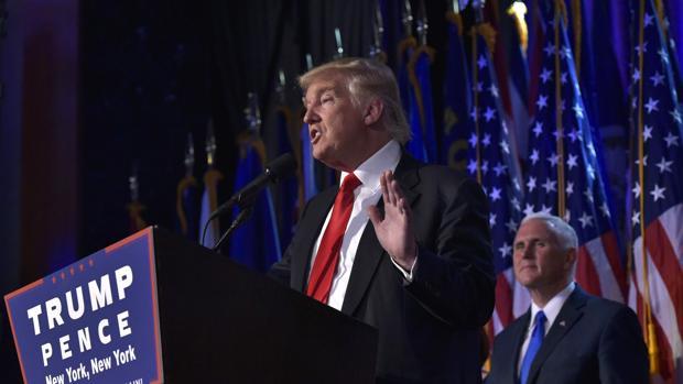 rump, en su primera intervención tras vencer en las elecciones presidenciales