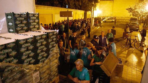 Imagen del último reparto del Banco de Alimentos realizado en Valencia