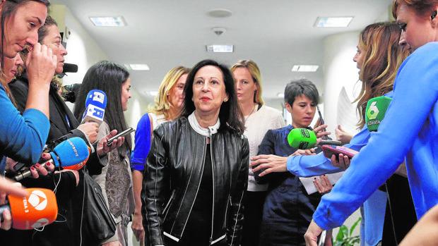 Margarita Robles, el pasado lunes en el Congreso tras presentar las alegaciones contra su sanción