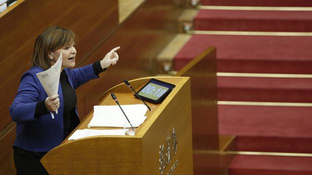 Imagen de la presidenta del PPCV, Isabel Bonig, hoy en las Cortes