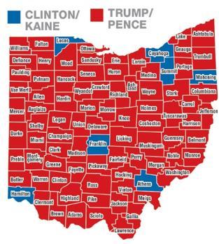Ohio votó de forma mayoritaria por Donald J. Trump. Solo siete de los 88 condados del estado apoyaron a Hillary Clinton y uno de ellos fue Lucas, cuya sede es Toledo