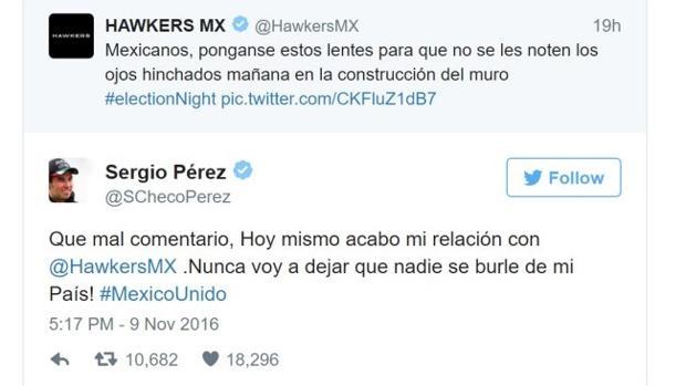 Hawkers México:  Hawkers publica un tuit ofensivo en su perfil de México y el piloto Checo Pérez rompe su contrato con la marca