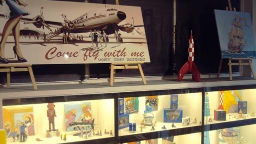 Detalle de la colección de Tintín que exhibe la librería The Cómic Co, en Divino Pastor