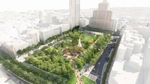 Los cinco proyectos para la Plaza de España: un espacio verde, diáfano y dedicado al peatón y la bicicleta