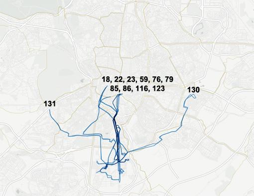 Líneas de autobús que transitan por el distrito de Villaverde