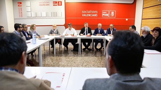 Imagen de Ximo Puig tomada este lunes en la sede del PSPV