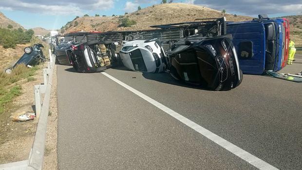 Imagen de un accidente que ha tenido lugar a la altura del kilómetro 262 de la autovía A-2
