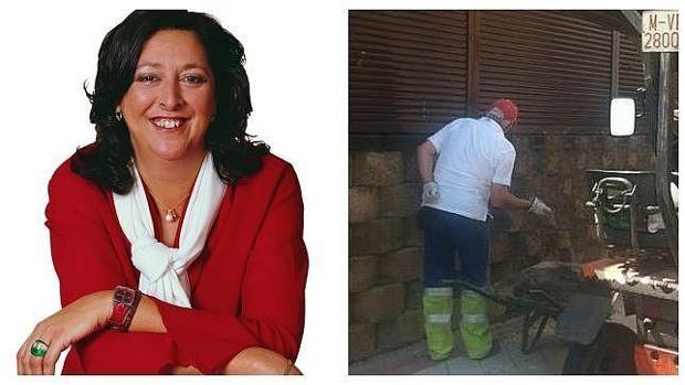 Teresa Fernández (IU), en una imagen de archivo junto al obrero municipal