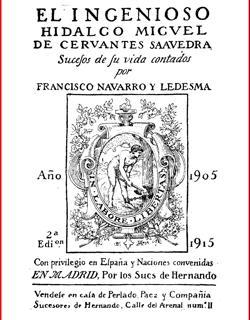 Portada del libro de Navarro Ledesma: El Ingenioso Hidalgo Miguel de Cervantes Saavedra.