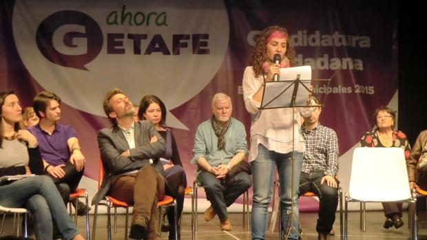 La exportavoz de Ahora Getafe, Vanessa Lillo, durante la presentación de la candidatura