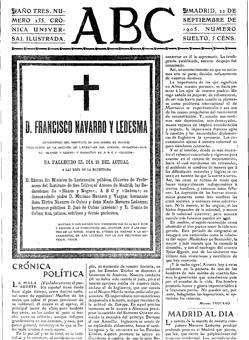 Esquela publicada en ABC por la muerte de Francisco Navarro
