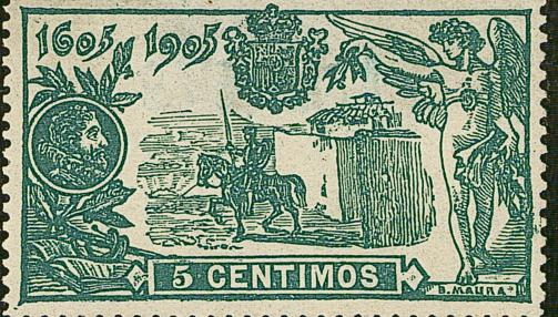 Sello conmemorativo del III Centenario del Quijote en 1905