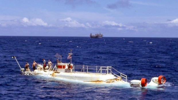 Operaciones de Estados Unidos en 1969 buscando al submarino Scorpion, que se hundió un año antes