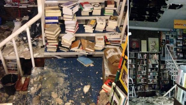 La librería Alberti sufre daños al desprenderse el techo sobre el material expuesto y los ordenadores