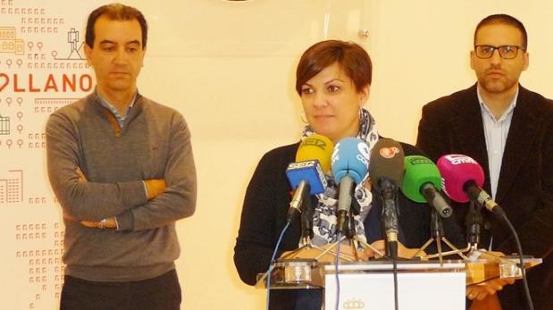 La alcaldesa de Puertollano durante su comparecencia para hablar del servicio de agua