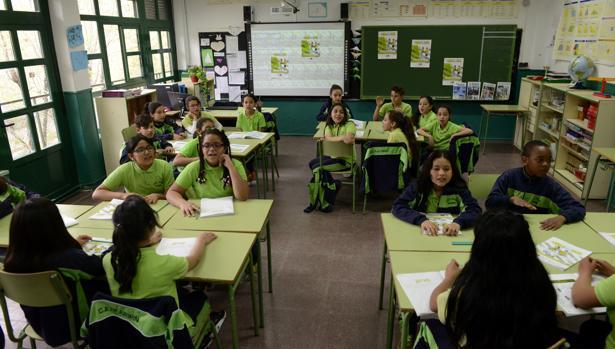 Niños en un aula de un colegio madrileño