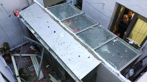 Patio interior donde se ha producido la mayor parte de los daños de la explosión