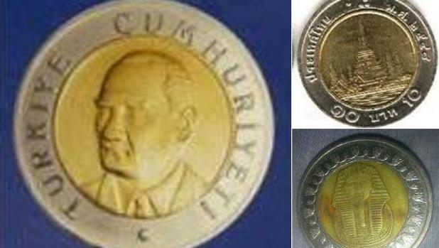 A la izquierda: moneda turca. Arriba y abajo: una libra egipcia y 10 bath tailandeses