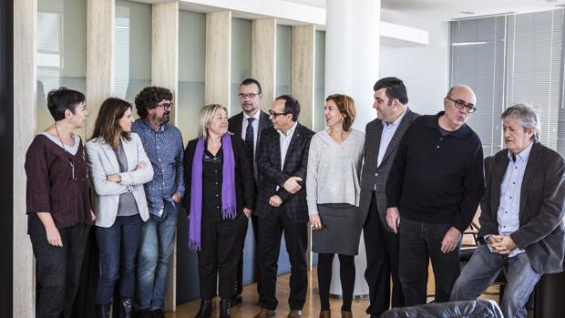 Reunión del Consejo Rector de la nueva RTVV, en su primera reunión en Burjassot este jueves