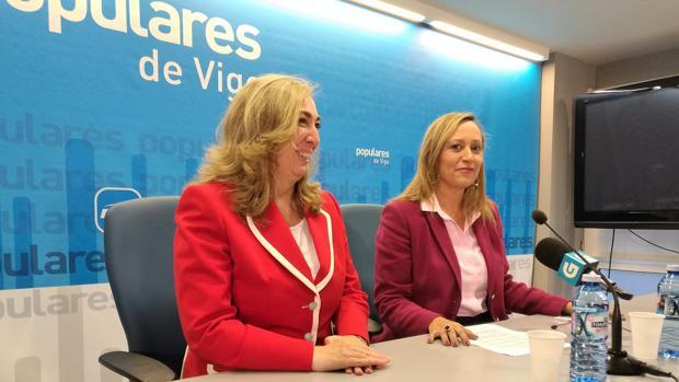 Muñoz junto a Molares, ayer durante su comparecencia conjunta en la sede del PP de Vigo