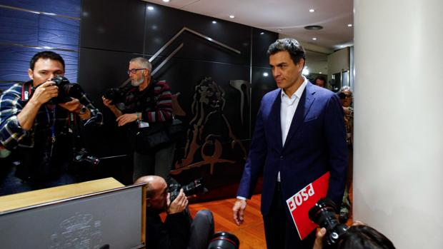Pedro Sánchez, durante su comparecencia para anunciar que dejaba el acta de diputado