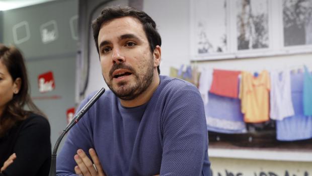 El coordinador federal de IU, Alberto Garzón, en la presentación de la campaña