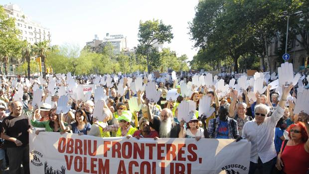 Manifestación en Barcelona en el Día Internacional del Refugiado
