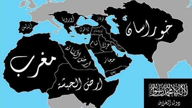 El califato por implantar, según las pretensiones de Daesh