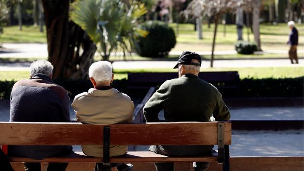 Imagen de un grupo de ancianos en un parque de Valencia