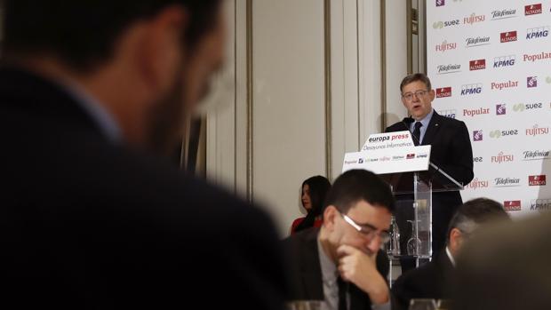 Imagen de Ximo Puig durante su conferencia en Madrid