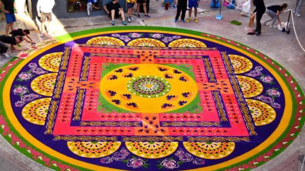 Una de las creaciones en la localidad de Elche de la Sierra para celebrar el Corpus Christi