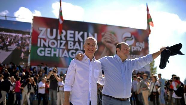 Iñigo Urkullu y Andoni Ortuzar, en la fiesta del PNV