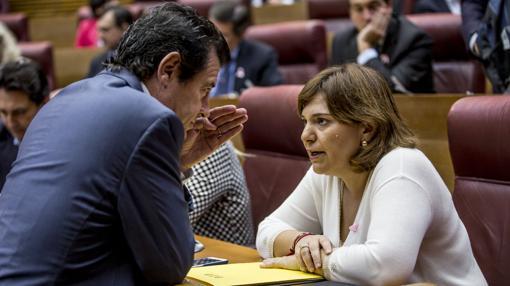 Los populares Isabel Bonig y José Císcar, en las Cortes