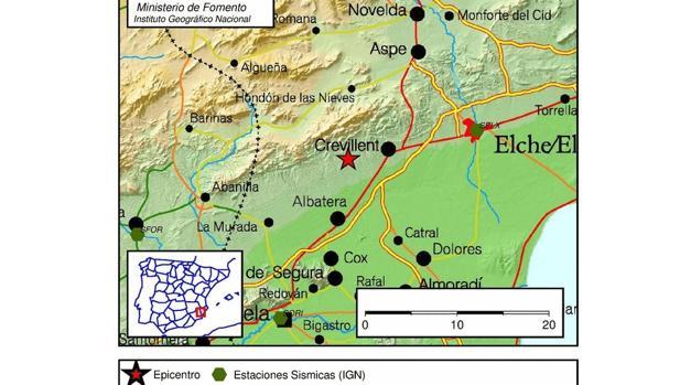 Imagen del alcance del terremoto en Alicante