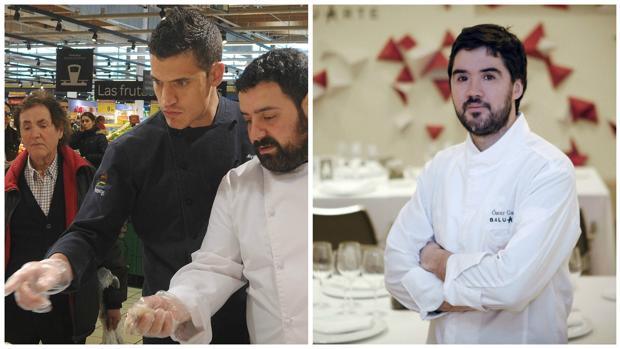 Miguel Cobo (de negro) y Óscar García Marina, los dos nuevos chefs reconocidos con Estrella Michelin