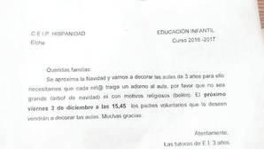 El colegio que pidió que los niños no llevaran belenes a clase convoca a los padres para matizar su carta
