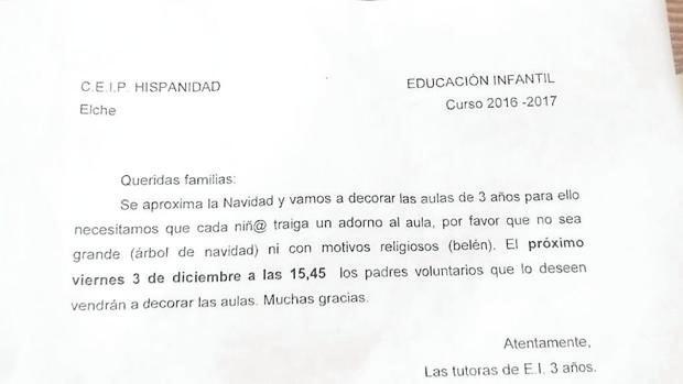 Imagen de la carta remitida a los padres