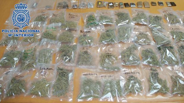 Bolsas de marihuana incautadas