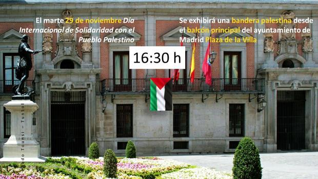 Imagen de la convocatoria que simula la colocación de la bandera