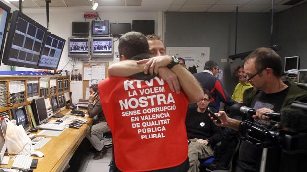 Imagen tomada en las instalaciones de RTVV tras el fundido a negro