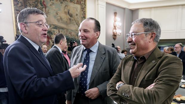 Imagen de Ximo Puig junto a José Vicente Morata y Paco Molina tomada este lunes en Valencia