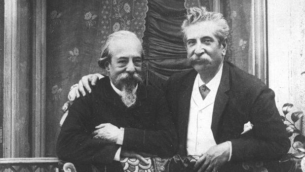 Zorrilla con el poeta Antonio Fernández Grilo