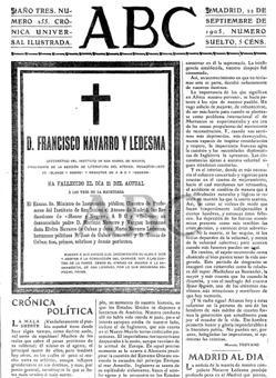 Notificación de la muerte de Navarro Ledesma en ABC (22 de septiembre de 1905)