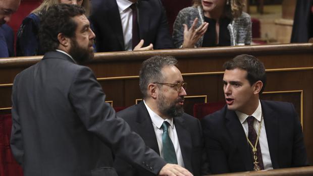 Miguel Gutiérrez, Juan Carlos Girauta y Albert Rivera