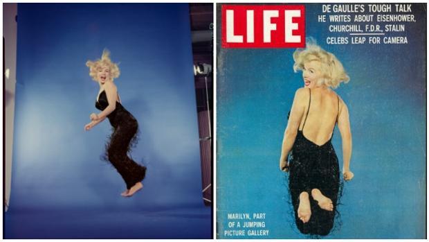 Marilyn Monroe en la sesión de fotos «jumping» de Halsman para la portada de LIFE
