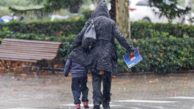 Imagen de la jornada de lluvias de ayer en Valencia