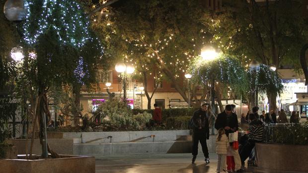 Luces navideñas en la Plaza del Pilar de Ciudad Real